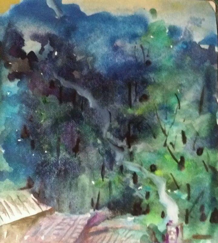 收藏 | 分享 绿树系列02  画类: 水彩画 类别: 风景        焦如新